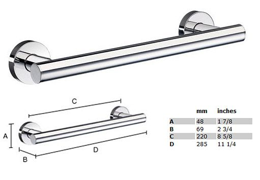 Home 11 1/4 inch Grab Bar - STAINLESS STEEL POLISHED