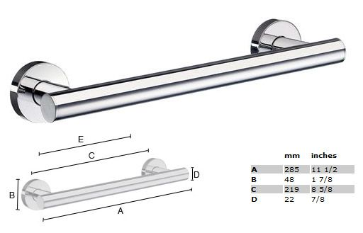Spa 11 1/2 inch Grab Bar - STAINLESS STEEL POLISHED